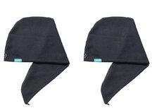 2-pack Aquarius Hair Turban Dark Grey. Ook geschikt voor geverfd haar.